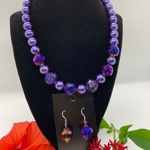 Purple bling necklace and earring set by JBJ
